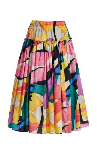 Alejandra Printed Organic Cotton Midi Skirt