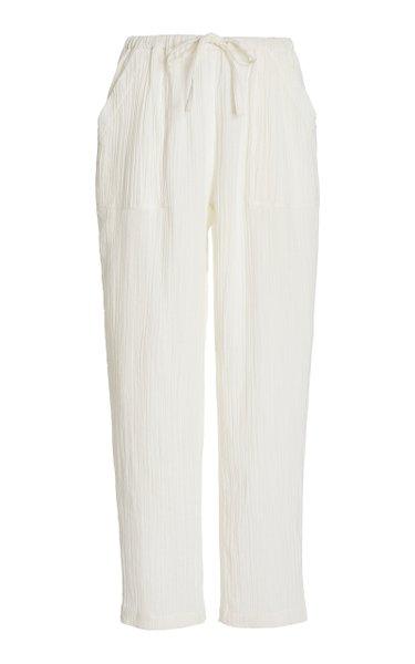 York Organic Cotton-Gauze Straight-Leg Pants