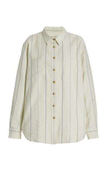 Adele Striped Cotton-Linen Button-Down Top