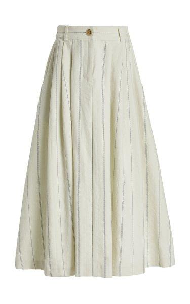 Tulay Stripe Cotton-Linen Maxi Skirt
