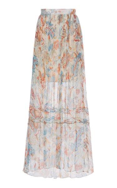 Pleated Silk Maxi Skirt