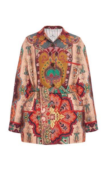 Belted Paisley Linen-Silk Jacket