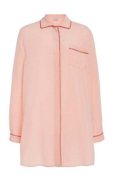 Piped Silk Button-Down Shirt