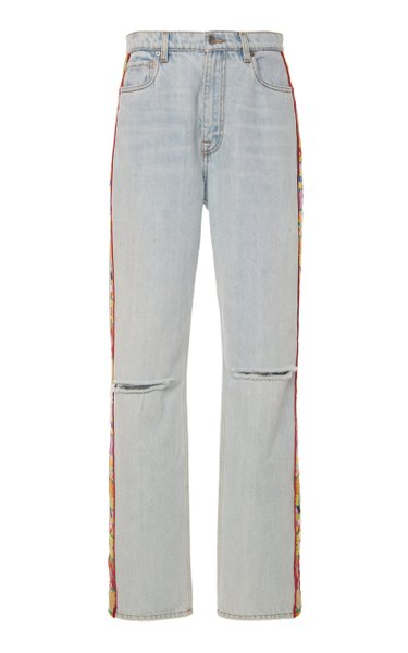 Embroidered Mid-Rise Straight-Leg Jeans