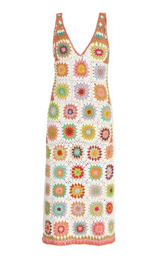 Cotton Crocheted Midi Dress