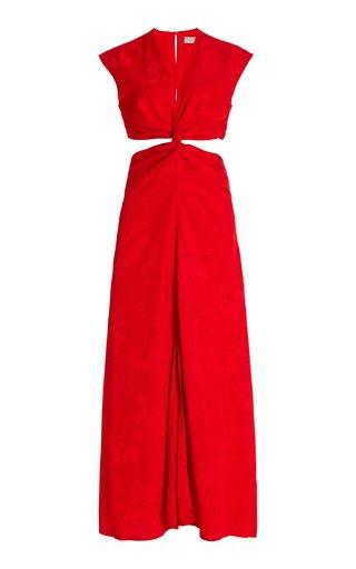 Pienza Cutout Jacquard Maxi Dress
