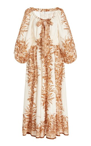 Moonshine Printed Linen Midi Dress