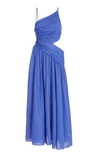 Tropicana Open-Back Linen Maxi Dress
