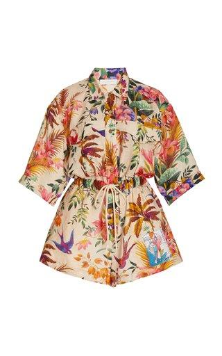Tropicano Floral-Print Linen Playsuit