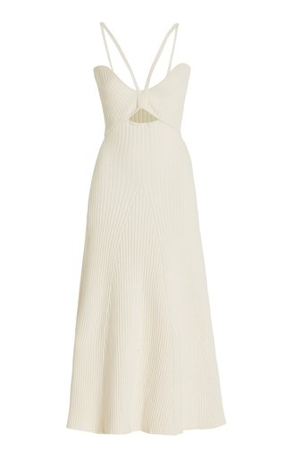Galina Cutout Ribbed-Knit Cotton Midi Dress