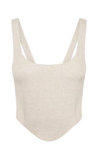 Maya Cotton-Linen Corset Top
