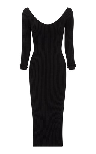 Helena Off-The-Shoulder Ribbed-Knit Cotton Midi Dress