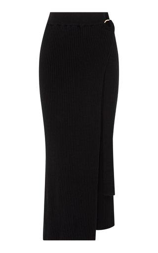 Matilde Ribbed Cotton Midi Wrap Skirt