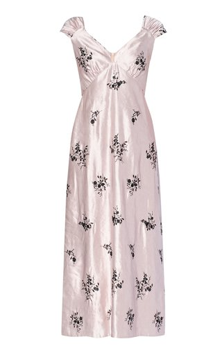 Garnet Floral Taffeta Midi Dress