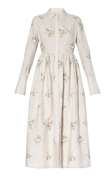 Cora Floral Linen Shirt Dress