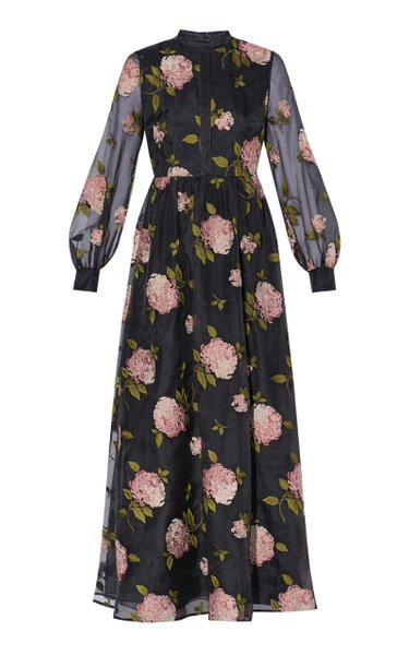 Maya Embroidered Silk Midi Dress