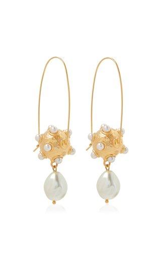 Metal Sphere Pearl Long Earrings