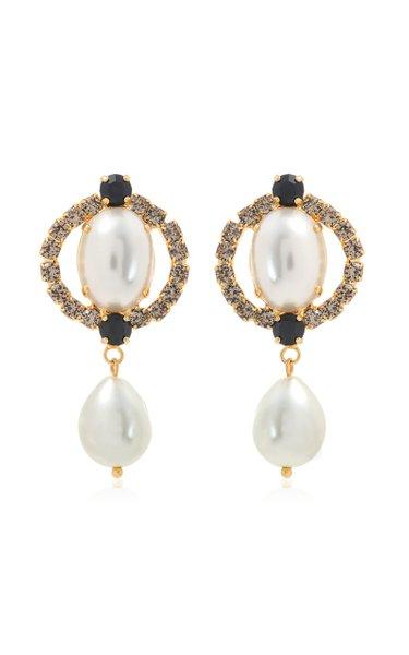 Crystal Loop Pearl Drop Earrings
