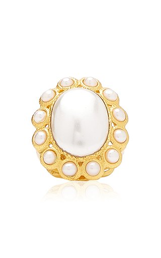 Oceana Pearl 24K Gold-Plated Ring