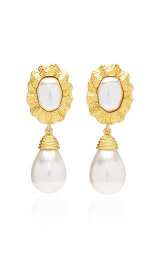 Sandy 24K Gold-Plated Pearl Earrings