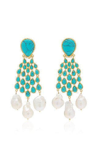 Euphoria 24K Gold-Plated Turquoise, Pearl Earrings