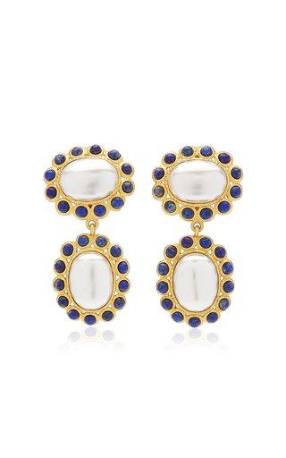 Hayman 24K Gold-Plated Pearl, Lapis Earrings