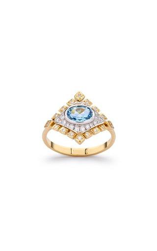 18K White & Yellow Gold Jagged Rhombus Ring