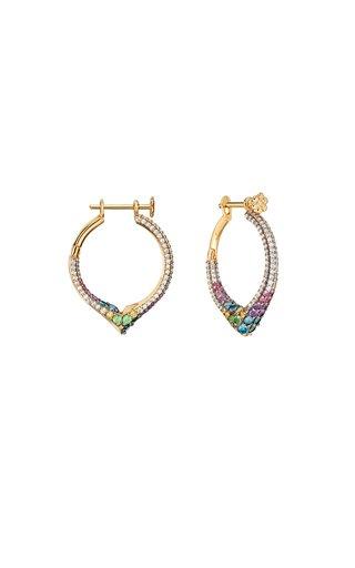 18K Yellow Gold Sparkling Hoops Earrings