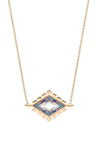 18K White, Yellow & Rose Gold Jagged Rhombus Necklace