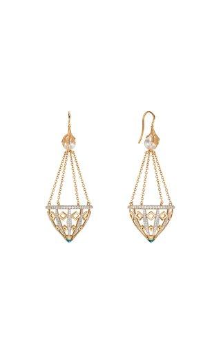 18K Yellow Gold Dragon's Claw Basket Earrings
