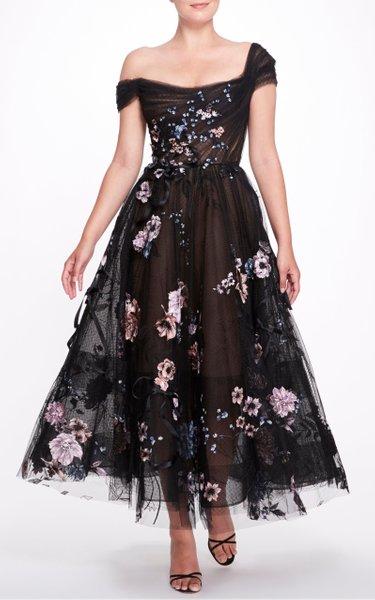 Floral Appliquéd Tea Dress