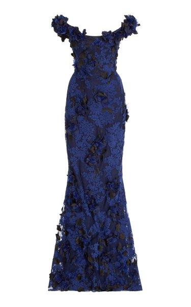 Floral-Appliquéd Lace Off-The-Shoulder Gown