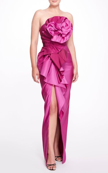 Draped Strapless Evening Gown