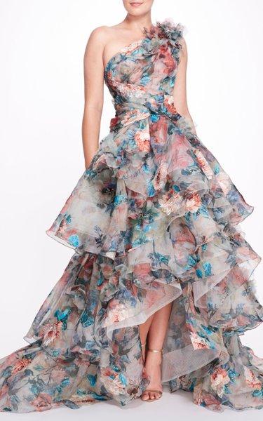 One-Shoulder Tiered Silk Gown