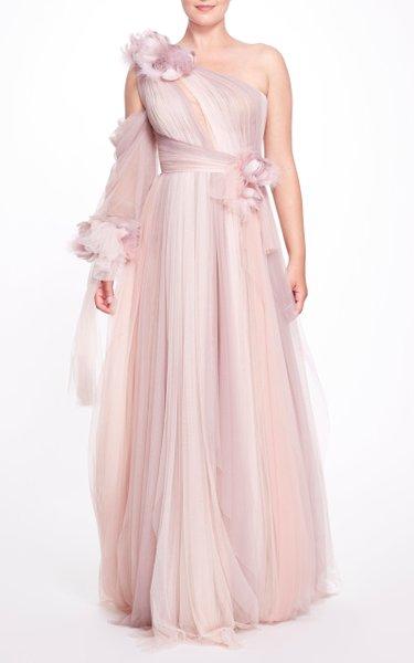3D Floral Appliquéd One-Shoulder Gown