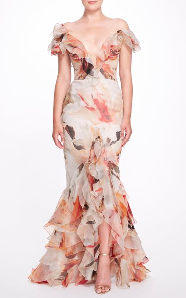Floral Ruffled Trimmed Silk Gown