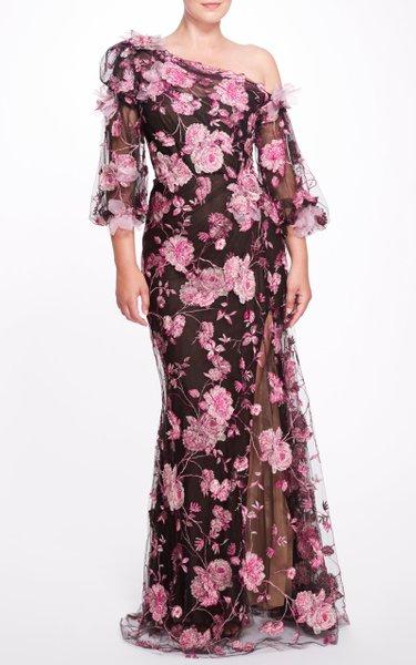 One-Shoulder Floral Appliquéd Gown