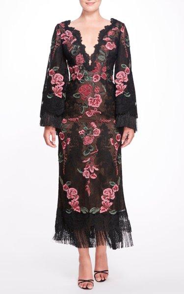 Fringe-Trimmed Floral Appliquéd Dress