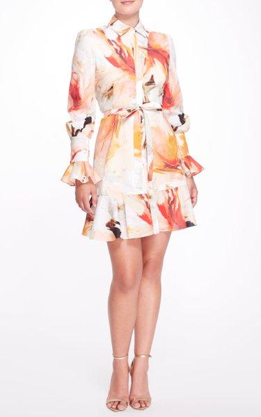 Flounce Hem Printed Cotton Dress