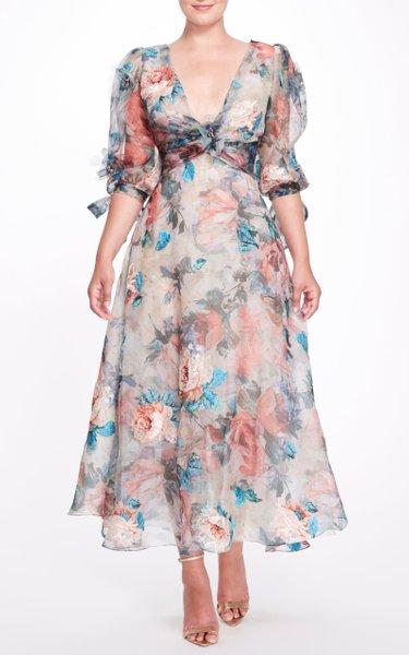 Floral Printed Silk Tea Dress