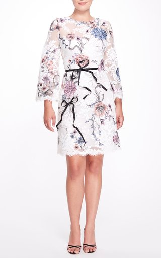 Tie-Detailed Lace Knee-Length Dress