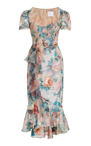 Floral-Embroidered Chiffon Midi Dress