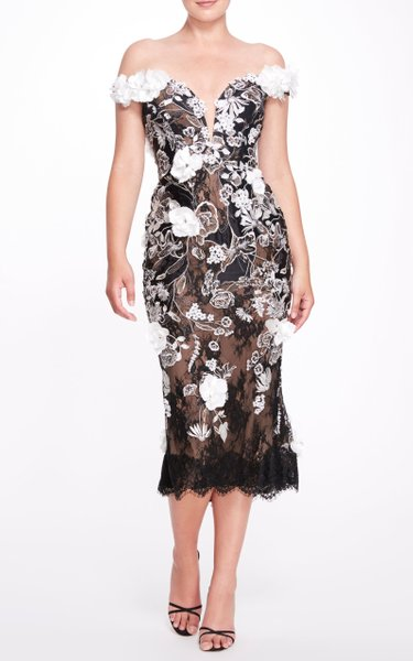 Floral Appliquéd Sweetheart Midi Dress