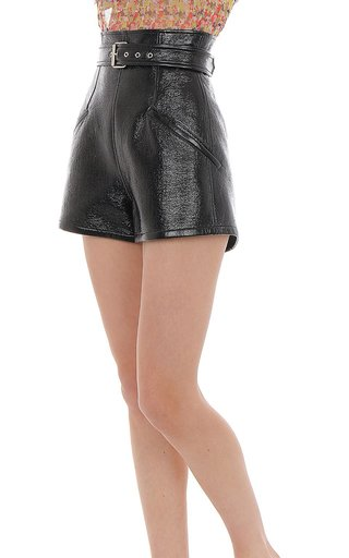 High-Rise Faux Patent Leather Shorts