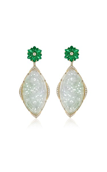 One of a Kind 18K Yellow Gold Carved Jade Chandelier Earring
