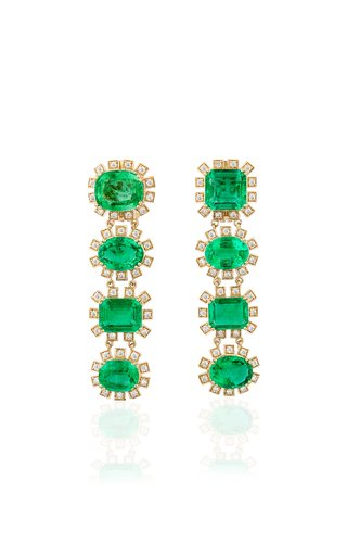 One of a Kind 18K Yellow Gold Multishape Emerald & Diamond Long Earrings