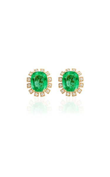 One of a Kind 18K Yellow Gold Emerald Earrings