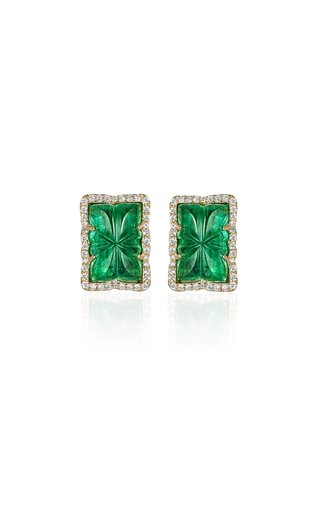 One of a Kind 18K Yellow Gold Carved Emerald Earrings