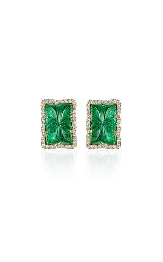 One-of-a-Kind 18K Yellow Gold Emerald, Diamonds Earrings