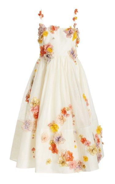 Postcard Floral-Appliqued Linen-Silk Midi Dress